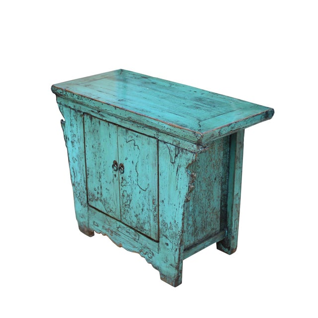 1990s Chinese Rustic Rough Wood Distressed Aqua Blue Side Table Cabinet For Sale - Image 5 of 8