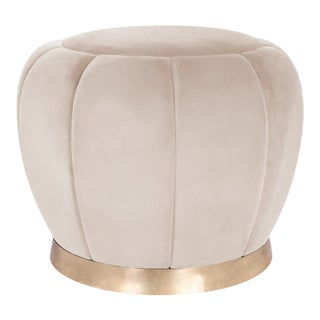 Beige Fabric Selena Pouf For Sale