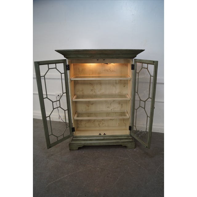 Green Colonial Williamsburg Architectural Curio Cabinet For Sale - Image 8 of 10