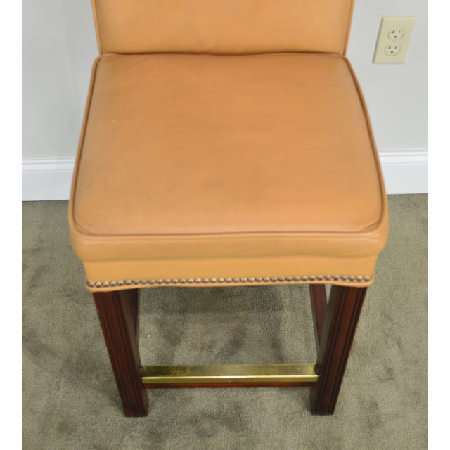 Brown Fairfield Set 4 Tan Leather Bar Stools For Sale - Image 8 of 12