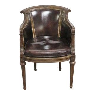 Regency Walnut Leather Chair For Sale