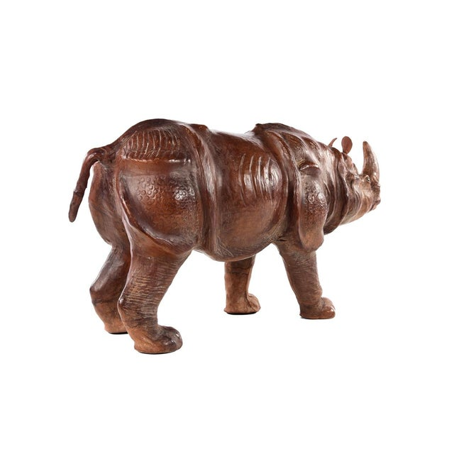Vintage Leather Rhinoceros Sculpture For Sale In Los Angeles - Image 6 of 9