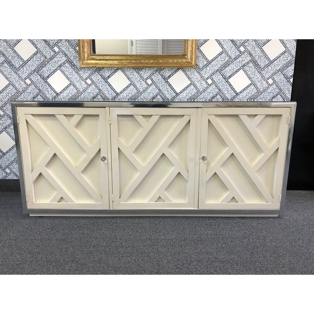 White Vintage Fretwork Cream Wood Credenza With Mirror Top For Sale - Image 8 of 8
