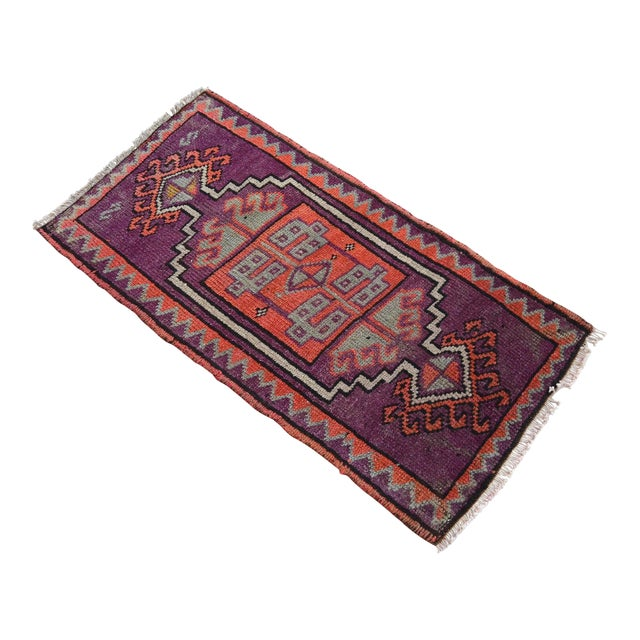 Distressed Small Rug Low Pile Hand Knotted Yastik Rug Faded Mat - 18'' X 36'' For Sale