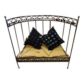 Medi Half Moon Wrought Iron Moroccan Bench with Pillows For Sale