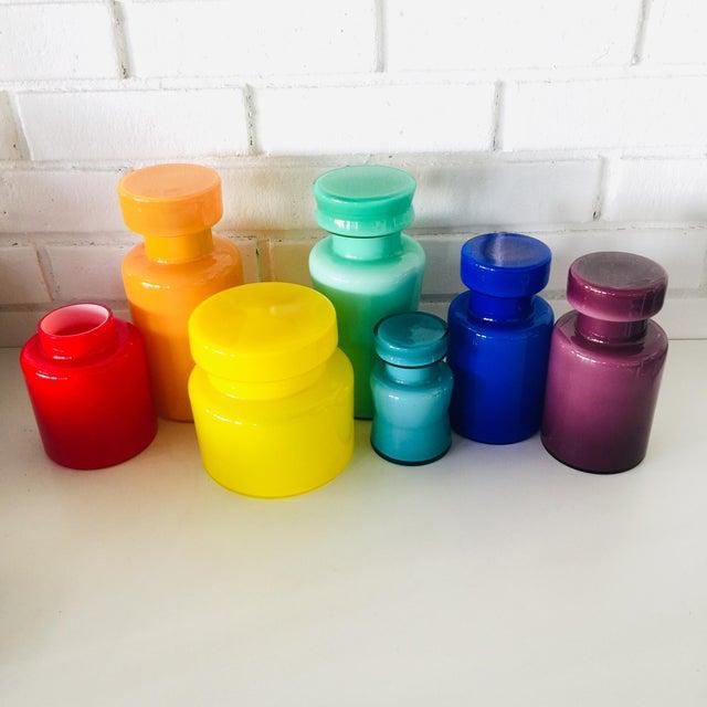 Minimalism Rainbow Empoli Cased Glass Jars - Set of 7 For Sale - Image 3 of 11