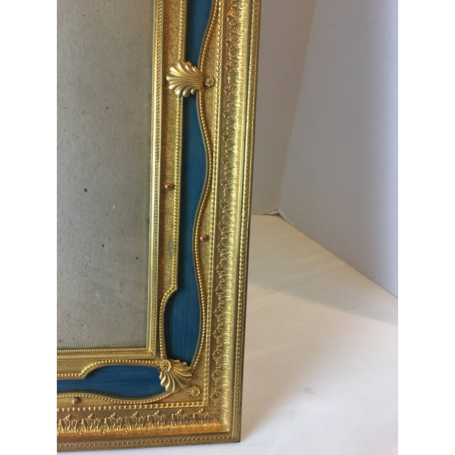 1900 - 1909 Antique French Gilt Bronze Ormolu & Green Guilloche Enamel Picture Frame For Sale - Image 5 of 11