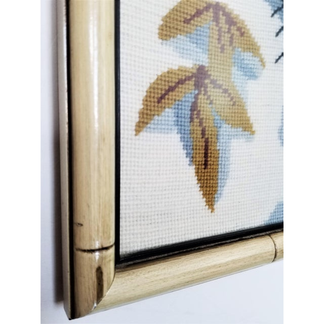 Black Vintage Chinese Snow Leopard Needlepoint With Faux Bamboo Frame -Signed 1976 - Asian Mid Century Modern Palm Beach Chic Animal Cheetah Tiger For Sale - Image 8 of 12