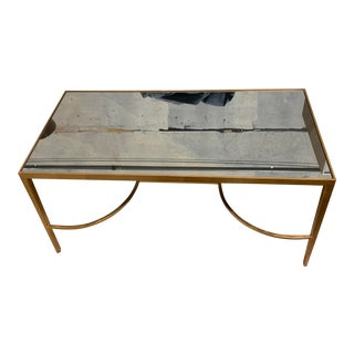 Antique Mirror Top and Gold Gilt Coffee Table For Sale