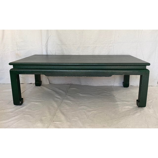 Minic Custom Woodwork Linen Grasscloth Wrapped Ming Coffee Table For Sale - Image 13 of 13