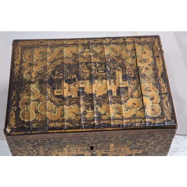 Gold 19th Century Chinoiserie Antique Humidor Jewelry Box For Sale - Image 8 of 12