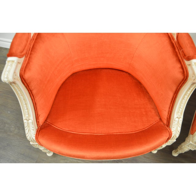 2000 - 2009 Pair of Louis XVI Style Painted Bergere Chairs Newly Uphostered in a Tangerine Velvet. For Sale - Image 5 of 10