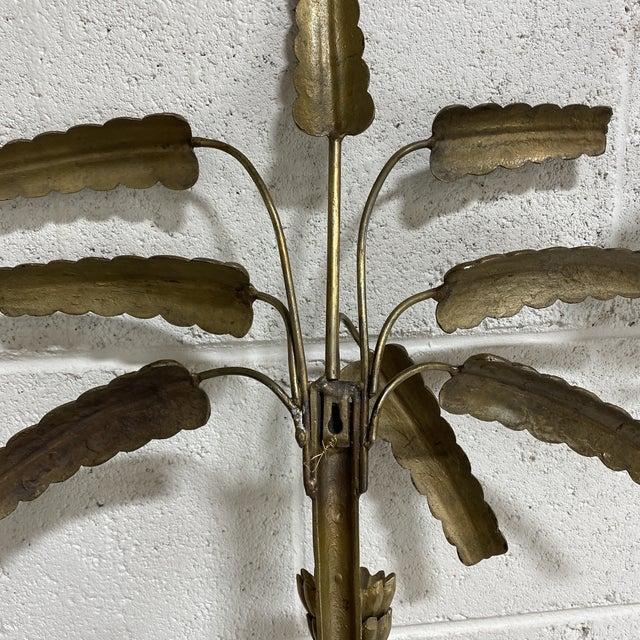 Brass Palm Candle Sconces - a Pair For Sale In Richmond - Image 6 of 13