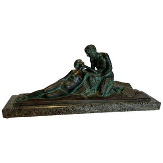 1920s Vintage Art Deco Bronze & Marble Sculpture For Sale