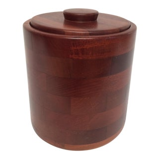 1960s Vintage Wooden Ice Bucket For Sale
