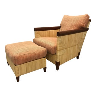 John Hutton for Donghia Wicker Chair and Ottoman For Sale