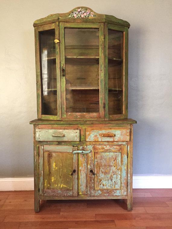 Vintage Farmhouse American Primitive Cupboard Kitchen Hutch   Image 2 Of 9