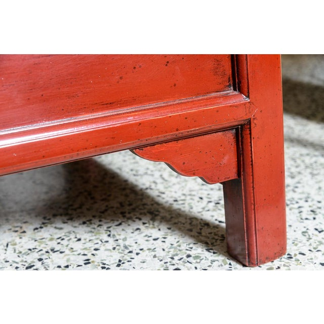 Asian Red Wooden Coffee Table For Sale - Image 9 of 10