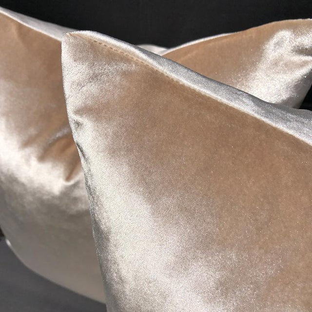 Pair of Light Pink velvet pillows. Each pillow is sewn with care with a knife edge, and pink matching zipper. These...
