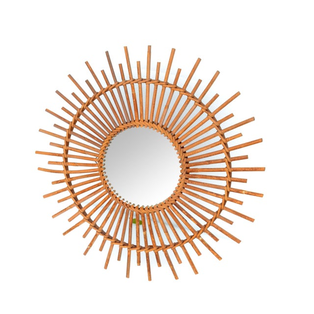 Mid-Century Modern Bohemian Chic French Handcrafted Round Ficks Reed & Woven Wicker Wall Mirror For Sale - Image 3 of 13