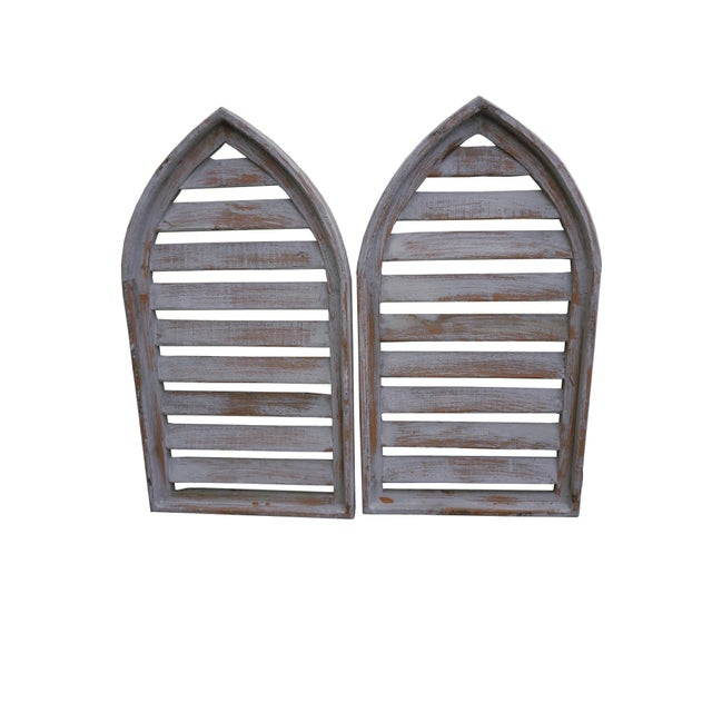 Pair Rustic Gray Distressed Cathedral Slatted Shutters Shabby Cottage Windows For Sale In Philadelphia - Image 6 of 6