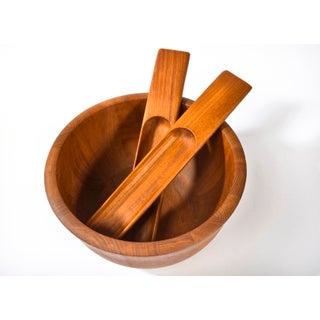 1970s Danish Modern Kitchen Dansk Teak Wood Bowl Wiht Tongs by Jens Quistgaard Preview