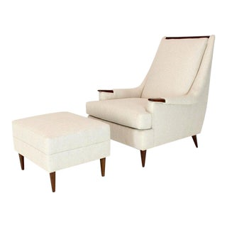 New Linen Upholstery Mid-Century Modern Lounge Chair With Matching Ottoman For Sale