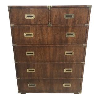 Henredon Campaign Style Highboy Dresser For Sale