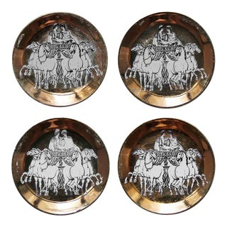 Mid 20th Century Piero Fornasetti Milano Gold Chariot Coasters for Saks - Set of 4 For Sale