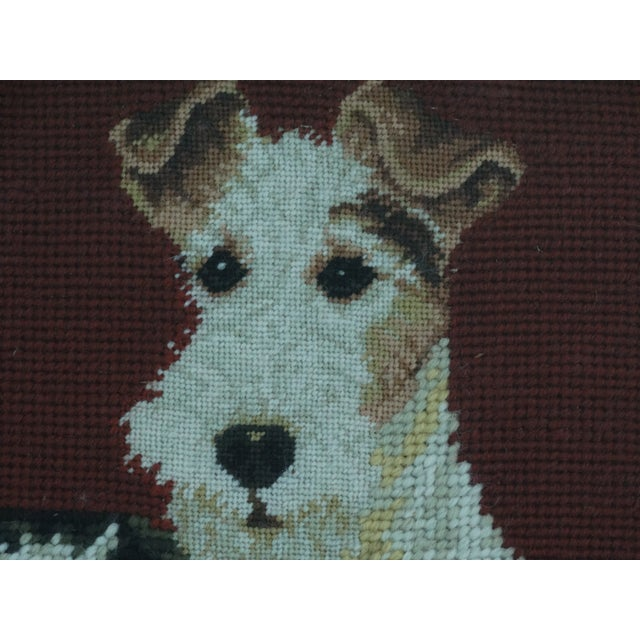 Antique Black Forest Framed English Terrier Dog Needlepoint - Image 4 of 7