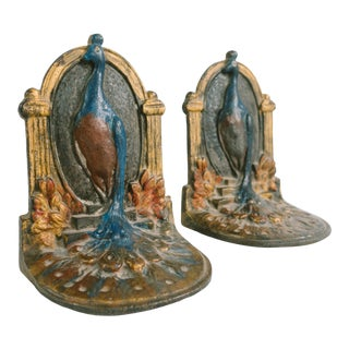 Art Deco Peacock Bookends - a Pair For Sale