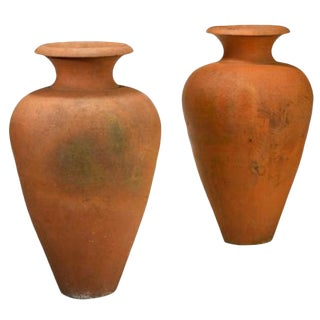 Pair of 1915 USA Enfield Pottery and Tile Company Monumental Terracotta Urns For Sale