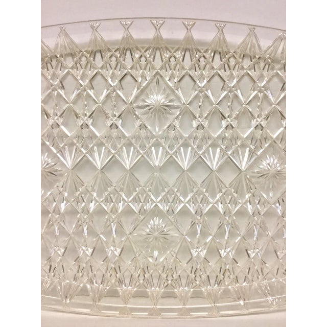 Contemporary Large Vintage Clear Carved Lucite Serving Tray For Sale - Image 3 of 13