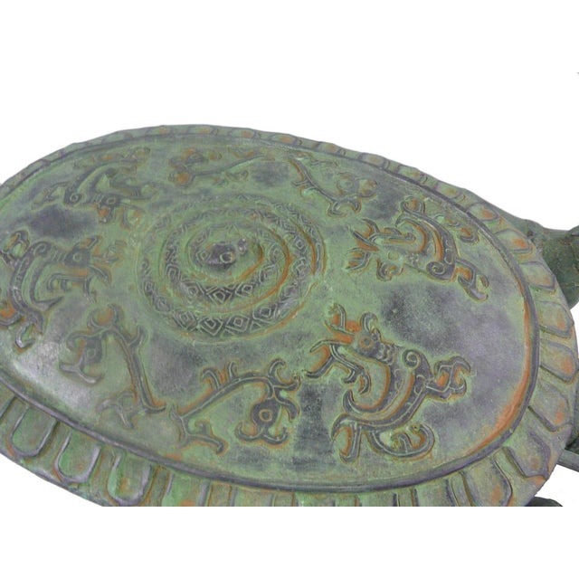 2010s Ancient Style Chinese Green Bronze-Ware Warrior Horse Wagon Display For Sale - Image 5 of 6