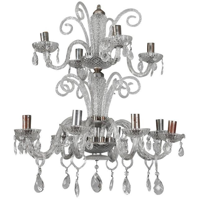 Large Double Tier Murano Clear Glass Chandelier For Sale - Image 10 of 10