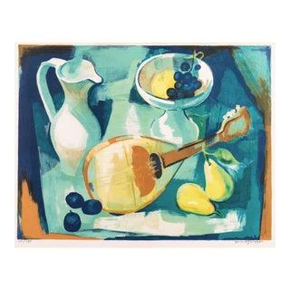 'Still Life With Fruit and a Mandolin' by Gérard Langlet, Ecole Beaux-Arts, Paris Salons, Benezit For Sale
