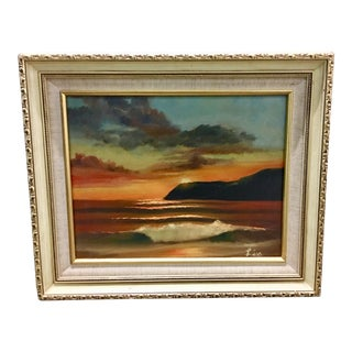 "Vintage Painting of a Sunset, Signed ""Lisa"" For Sale"
