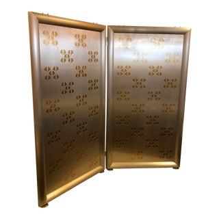 Pierced-Cut Aluminum and Brass, 2 Panel Folding Sceen For Sale