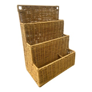 Natural Woven Wicker Rattan Desk Organizer and Paper Tray For Sale