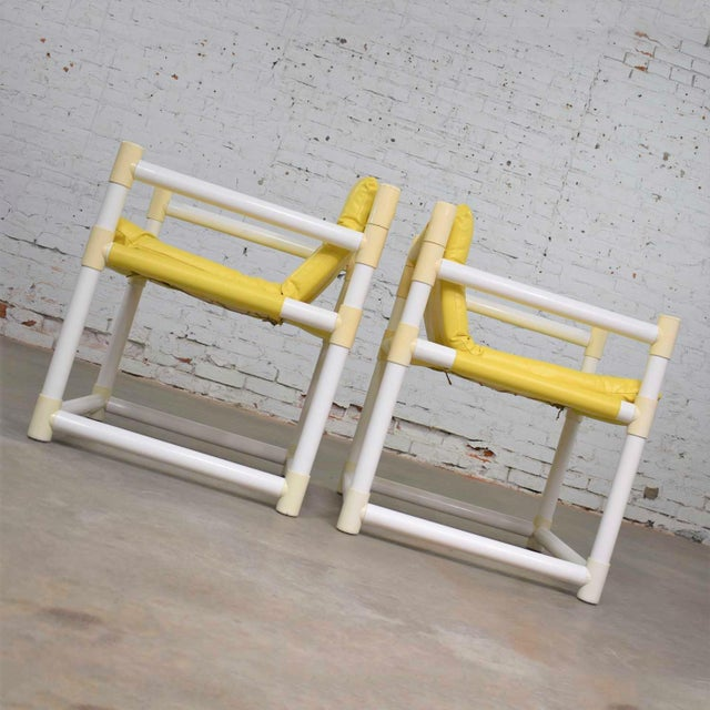 Mid 20th Century MCM Outdoor Pvc Side Chairs Yellow Vinyl Upholstery by Decorion Fun Furnishings - a Pair For Sale - Image 5 of 11