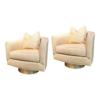 Taylor Burke Home Brass Swivel Chairs - A Pair