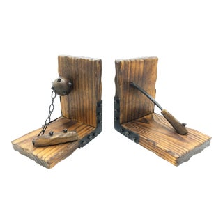 Vintage Pair of Hand Made Spanish Wood and Metal Large Bookends With Medieval Weapons For Sale