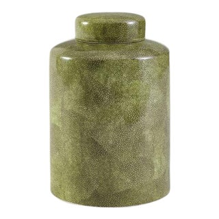 Kenneth Ludwig Chicago Green Shagreen Lidded Jar For Sale