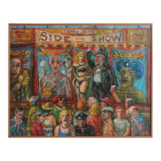 "20th Century Jonah Kinigstein ""Coney Island Side Show"" Oil Painting"