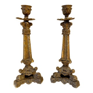 19th Century Antique French Gilt Bronze Acanthus and Dolphin Single Candelabra- a Pair For Sale