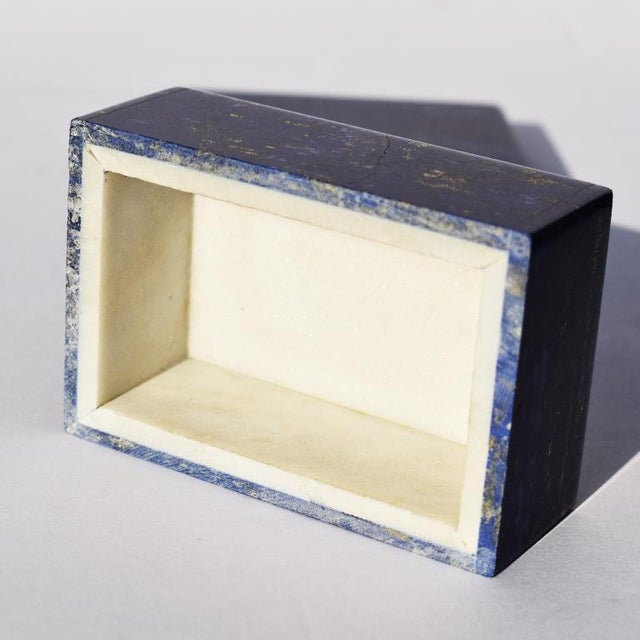 Blue Lapis Lazuli and Marble Stone Rectangular Jewelry or Trinket Box For Sale In Oklahoma City - Image 6 of 7