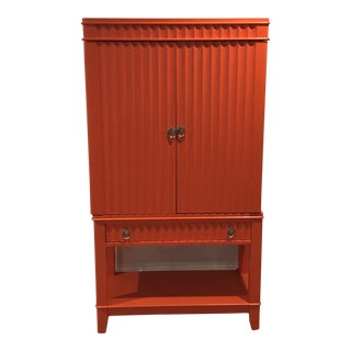 Art Deco Orange Painted Bar Cabinet For Sale