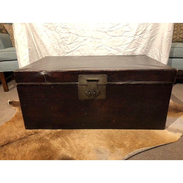 19th Century Chinese Leather Trunk For Sale - Image 4 of 13