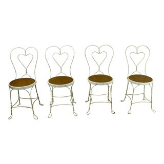 1950s Shabby Chic Heart Back Ice Cream Parlor Chairs - Set of 4 For Sale