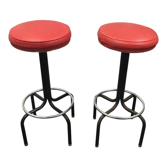 Vintage Red Barstools by Howells of St. Charles Illinois - A Pair - Image 1 of 8